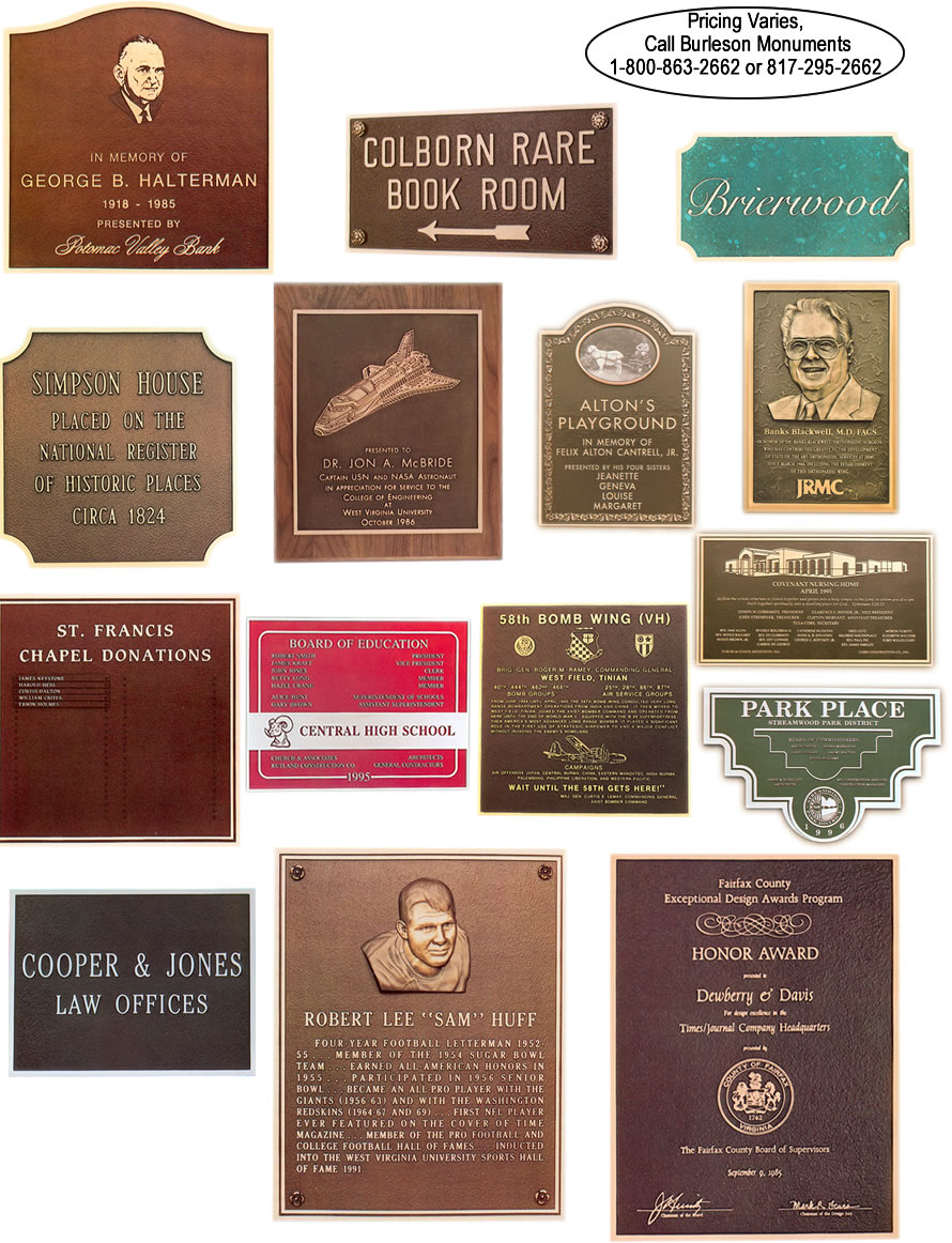 Bronze Plaques for Honorees, Accreditations and Accomplishments, www.burlesonmonuments.com