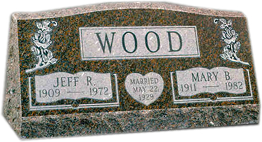Slant Memorial headstone at www.burlesonmonuments.com